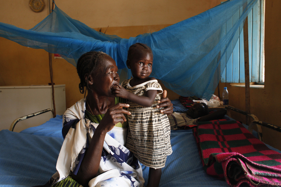 Grandmother Tereza and grand-daughter Bakhita, who used to be sick and malnourished are posing for a photo at the hospital in Wau, on January 31rst 2019. <br> <br><br>Read more <a target=